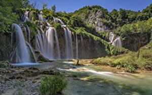 Фото Хорватия Парки Водопады Скале Plitvička Jezera Природа