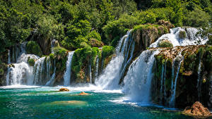 Фотографии Хорватия Парк Водопады Утес Krka National Park Природа