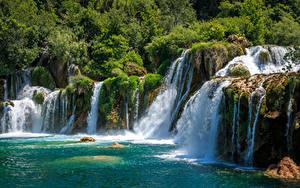 Фотографии Хорватия Парк Водопады Утес Krka National Park