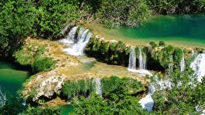 Обои для рабочего стола Хорватия Парк Водопады Krka national park Природа