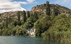 Фотографии Хорватия Парк Водопады Озеро Утес Дерево Krka National Park Природа