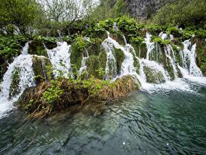 Обои Хорватия Парк Водопады Plitvice Park Stream Fall