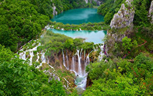 Фотография Хорватия Водопады Парки Скале Plitvice lakes national Park Природа