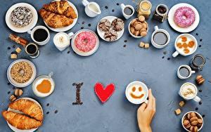 Картинки Круассан Любовь Пончики Чашка Еда