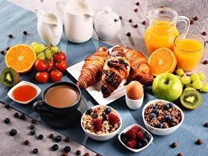 Фотографии Круассан Мюсли Сок Чашка Завтрак Еда
