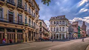 Фотография Куба Дома Дороги Улице HDRI Havana Города