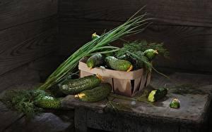 Обои Огурцы Укроп Зелёный лук Овощи Еда