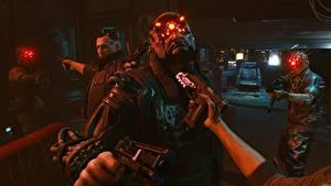 Картинка Cyberpunk 2077 Пистолет Руки Киборги компьютерная игра 3D_Графика