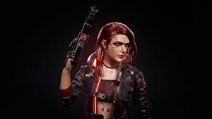 Картинки Cyberpunk 2077 Пистолет-пулемёт Черный фон Рыжая компьютерная игра Девушки
