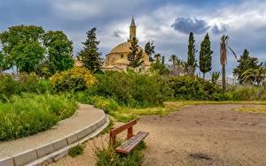Картинка Республика Кипр Скамейка Larnaca Города