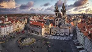Фото Чехия Прага Дома Городской площади Улица Башня Сверху Plaza de la Ciudad Vieja