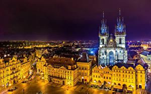 Фото Чехия Прага Здания Храмы Ночные Улица