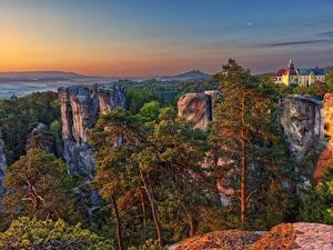 Фотография Чехия Рассветы и закаты Утес Деревьев Liberec region, Karlovice