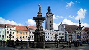 Фотография Чехия Скульптура Здания Фонтаны Городской площади Budweis Города