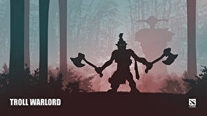 Фотография DOTA 2 Troll Warlord Воины Тролль С топором Силуэт Игры Фэнтези