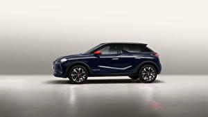 Картинка Кроссовер Сбоку Синий Металлик Французские DS 3 Crossback, 2020 Автомобили