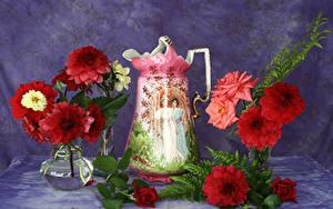 Фотографии Георгины Роза Вазе Кувшины Цветы