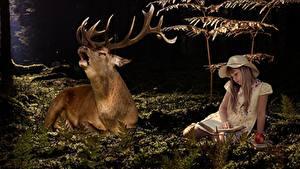 Обои Олени Девочки Сидит Шляпа Книга С рогами животное