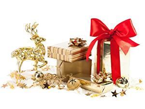 Фотография Олени Белый фон Шар Звездочки Подарки Бантик Золотой