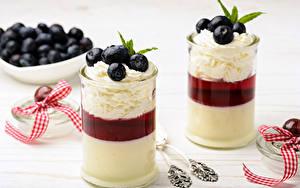 Обои Десерт Черника Йогурт Стакана 2 Сливки Пища
