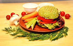 Картинки Укроп Гамбургер Грибы Томаты Овощи Тарелке vegan Пища