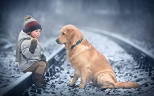 Картинки Собака Золотистый ретривер Зимние Железные дороги Мальчик Сидящие Шапка Куртке Marianna Smolina ребёнок Животные