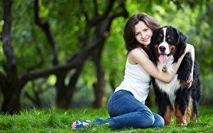 Обои Собаки Траве 2 Объятие Шатенки Улыбается Сидит Ноги Джинсы Размытый фон девушка