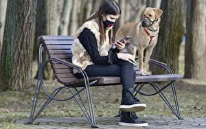 Фото Собаки Маски Коронавирус Скамейка Брюнетка Двое Сидит Животные Девушки