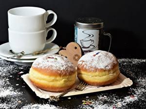Фотография Пончики Сахарная пудра Вилка столовая Чашка Еда