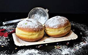Фотографии Пончики Сахарная пудра Выпечка Еда