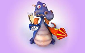 Фотографии Дракон Праздники Шампанское 3D Графика Животные
