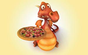 Обои Дракон Пицца 3D Графика Животные