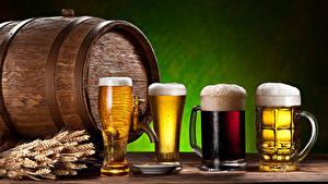 Обои Напитки Пиво Бочка Кружка Стакана Колосья Пена Еда
