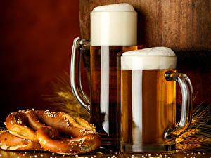 Фото Напиток Пиво Кружки Пена Вдвоем Еда