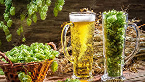 Обои Напиток Пиво Хмель Кружки Двое Корзина Еда