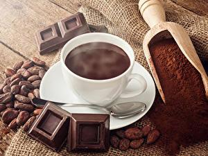 Фото Напиток Шоколад Зерна Чашке Ложки Какао порошок