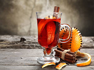 Фото Напитки Корица Апельсин Доски Чашка Пища