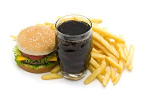Картинки Напитки Картофель фри Гамбургер Булочки Фастфуд Белый фон Стакана