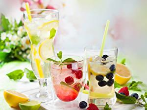 Обои Напиток Фрукты Малина Черника Лимоны Лайм Лимонад Стакана