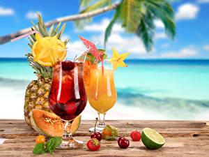 Картинка Напитки Сок Фрукты 2 Бокал Продукты питания