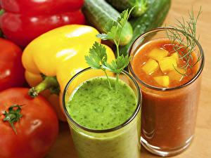 Обои Напиток Сок Овощи Перец Стакан 2 Продукты питания