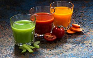 Картинка Напиток Сок Овощи Три Стакане Пища