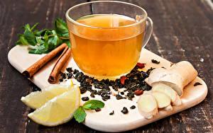 Обои Напитки Лимоны Корица Сыры Чашке Продукты питания
