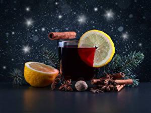 Фотография Напитки Лимоны Корица Бадьян звезда аниса Стакана Ветки Продукты питания
