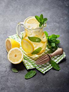 Фото Напиток Лимоны Лимонад Кувшины Листья