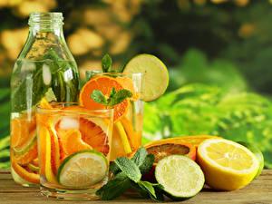 Обои Напиток Лимоны Лайм Бутылка Стакан Продукты питания