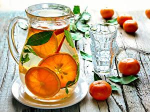 Картинки Напитки Мандарины Лимонад Доски Кувшин Стакан Пища