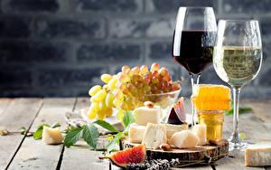 Картинка Напитки Вино Виноград Сыры Мед Инжир Бокалы Продукты питания