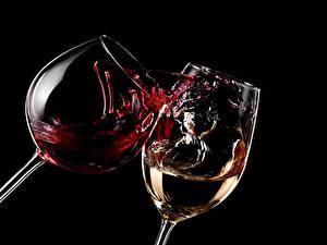 Обои Напитки Вино Бокалы 2 Брызги Еда