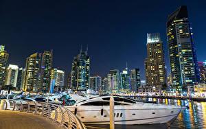 Фотографии Дубай Объединённые Арабские Эмираты Здания Небоскребы Катера Пирсы Ночные Города